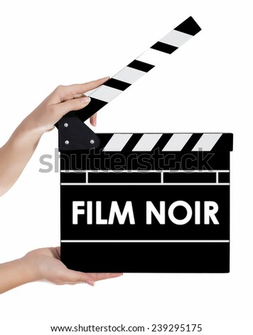 Hands holding a clapper board with FILM NOIR text - stock photo