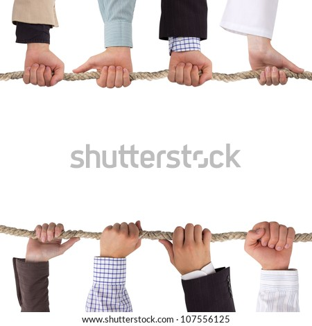 Hands holding a rope isolated on white, conceptual background