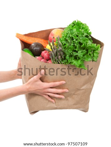 Hands holding a shopping bag full of groceries, mango, salad, asparagus, radish, avocado, lemon, carrots on white background - stock photo