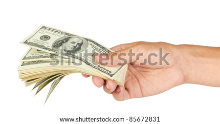 Hands holding a stack of dollar bills