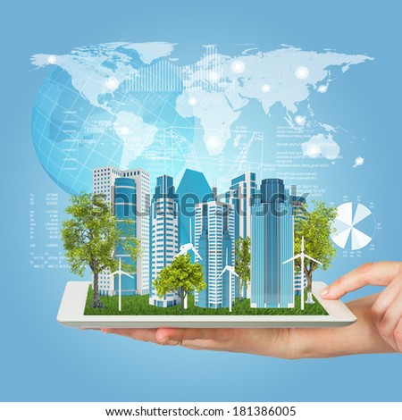 Tablet computer in screen tablet city of skyscrapers stock photo