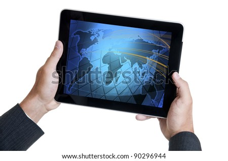 Hands holding a tablet or a Pad