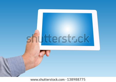 hands holding a tablet touch computer gadget with isolated screen - stock photo