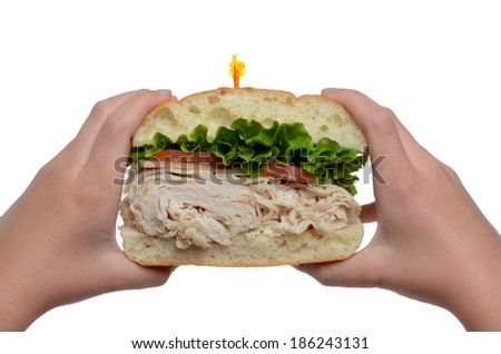 hands holding a turkey sandwich isolated white background - stock photo