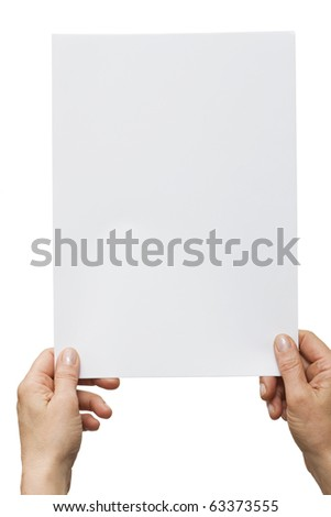 hands holding a white sheet of paper - stock photo