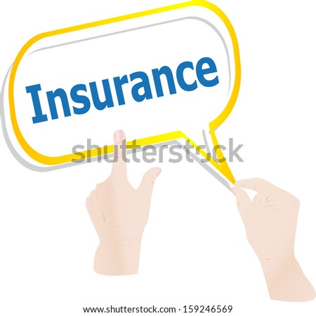 hands holding abstract cloud with insurance word, raster - stock photo