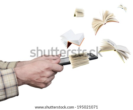 Hands holding an electronic book reader letting out books out of it - stock photo