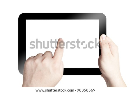 Hands holding and point on digital tablet with white screen. Isolated on white background - stock photo