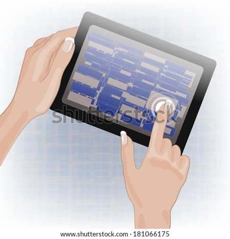 Hands holding and pointing on tablet. Raster version