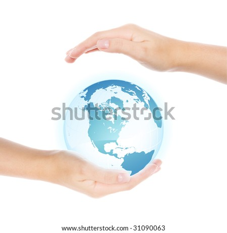 Hands holding and protecting earth, isolated on white