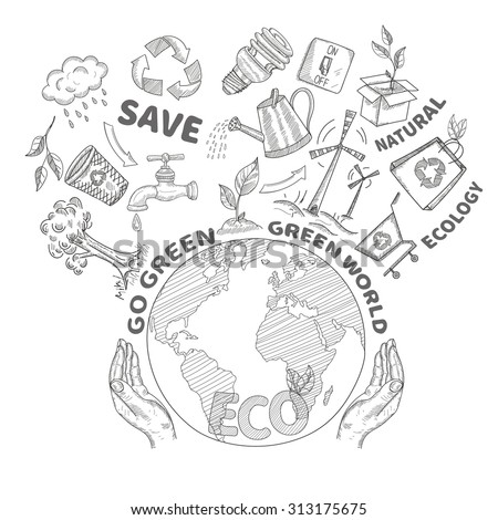 Hands holding and protecting globe environment conservation and ecology concept doodle  illustration