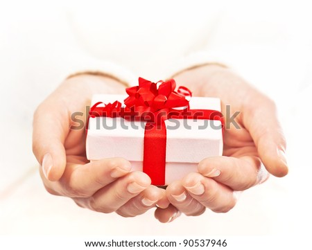 Gift giving stock images royalty free images vectors shutterstock hands holding beautiful gift box female giving gift christmas holidays and greeting season concept negle Images