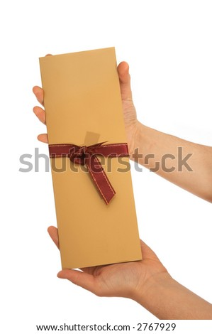 hands holding beautiful party invitation on white - stock photo