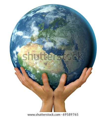 Hands holding big realistic globe symbolizing environmental care, facing Europe - stock photo