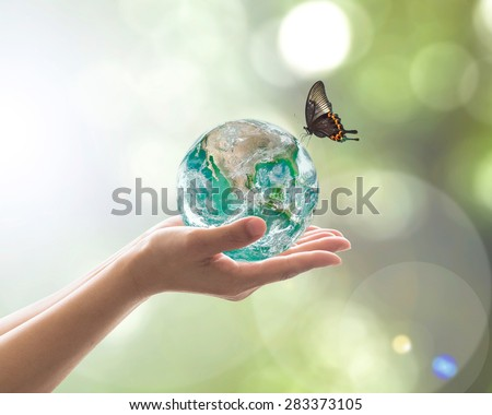 Hands holding bio green planet with butterfly blurred green color background natural arbor tree leave greenery facing sun flare: World environment day concept: Element of  image furnished by NASA    - stock photo