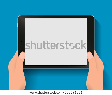 Hands holding black tablet computer at blue backgound with shadows. illustration in flat design. Concept for web design, promotion templates, infographics. illustration
