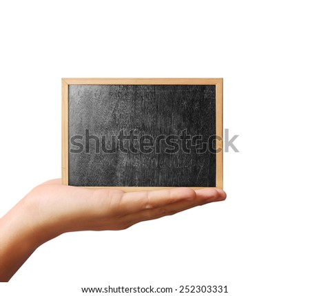 hands holding blackboard - stock photo