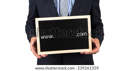 Hands Holding Blackboard with www. com Written on it with Empty Space Ready for Your Text - stock photo