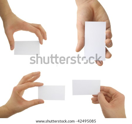 Hands holding blank business cards with clipping path - stock photo