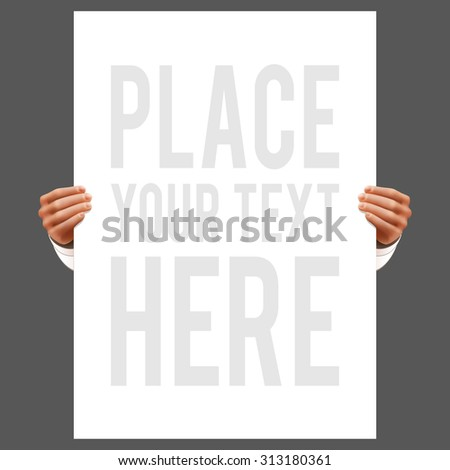 Hands holding cardboard advertise promotion poster realistic  illustration - stock photo