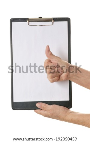 Hands holding clipboard with blank sheet of paper