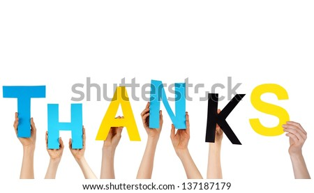 hands holding colorful letters building the word THANKS, isolated - stock photo