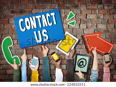 Hands Holding Digital Devices and Symbols Contact Us - stock photo