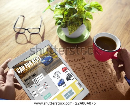 Hands Holding Digital Devices Car Rental - stock photo