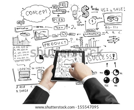 hands holding digital tablet and business concept