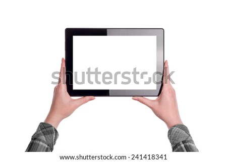 Hands holding Digital Tablet Computer in horizontal position with Blank White Screen as Copy Space isolated on white background - stock photo