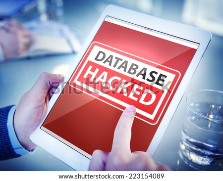 Hands Holding Digital Tablet Database Hacked - stock photo