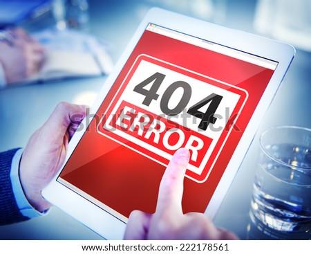 Hands Holding Digital Tablet Forbidden Website - stock photo