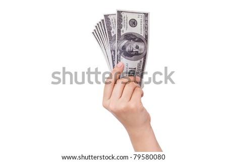 Hands holding dollars isolated on white background - stock photo