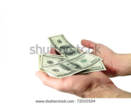 Hands holding dollars on the isolated white background