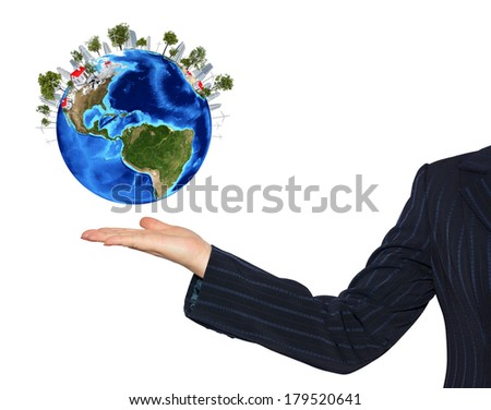 Hands holding earth. Isolated on white background