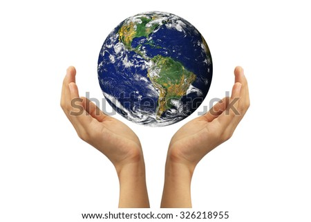 Hands holding earth on white background. Elements of this image furnished by NASA - stock photo