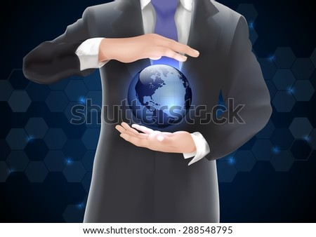 Hands holding earth with blue  of  background  on blue and black