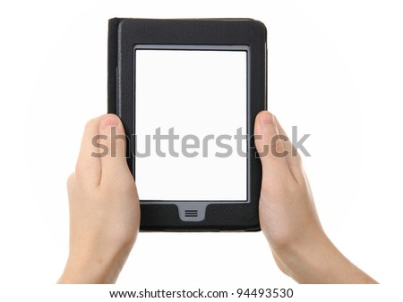 hands holding  empty electronic e-reader for book - stock photo