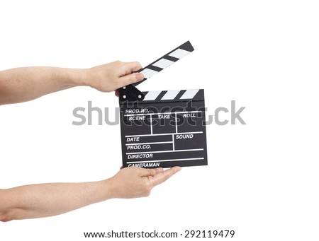 Hands holding  film clapperboard isolated on white - stock photo