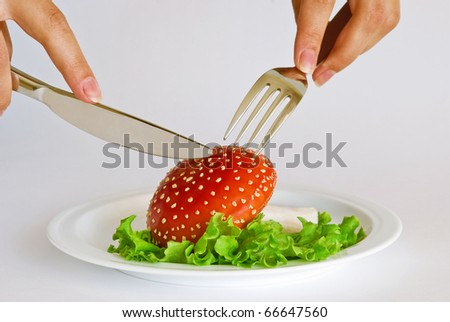 "Hands holding fork and knife over poisonous mushroom ""fly agaric"" served on a white plate with salad on a white background"