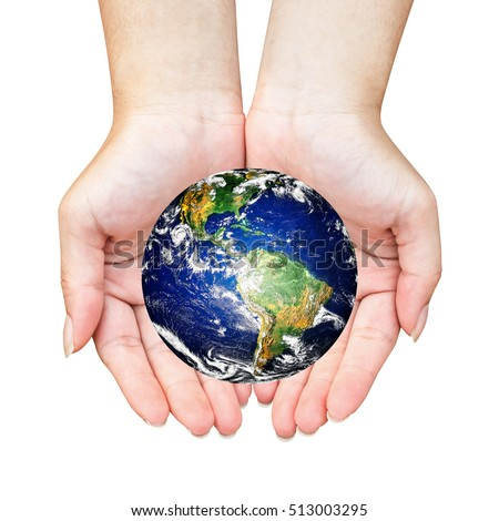 Hands holding globe isolated on white background. Elements of this image furnished by NASA. Safe and healing world concept.