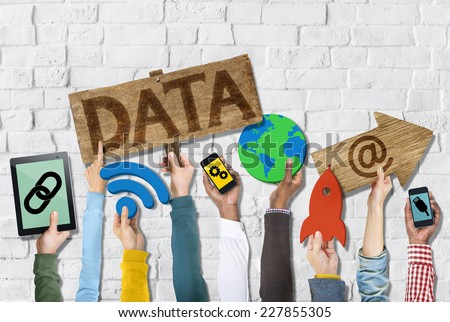 Hands Holding Group of Icons with Data Concepts - stock photo