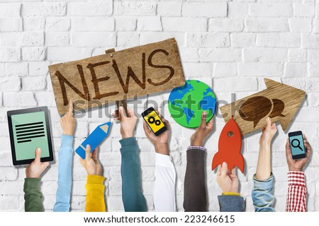 Hands Holding Group of Icons with News Concepts - stock photo
