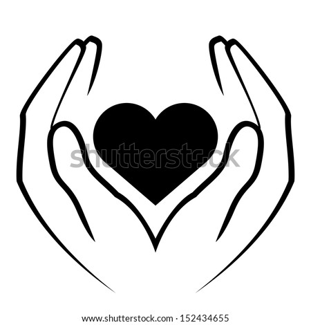 hands holding heart - stock photo