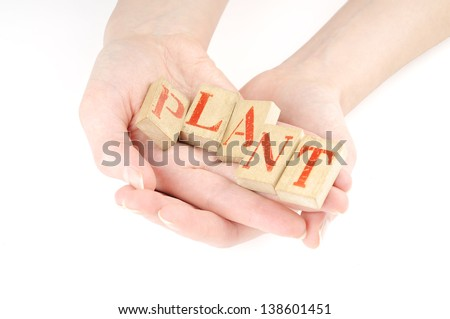 Hands holding letters and seedling in his hand