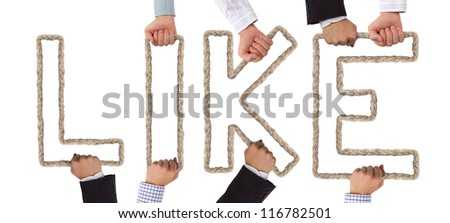 Hands holding letters forming LIKE tag