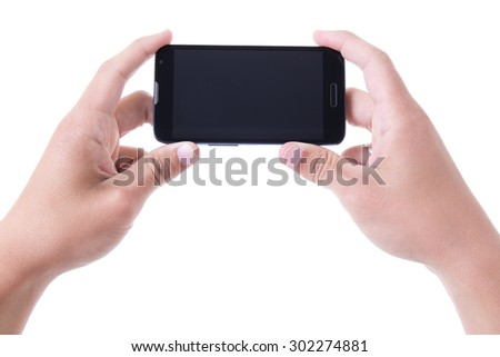 hands holding mobile smart phone with blank screen isolated on white background - stock photo