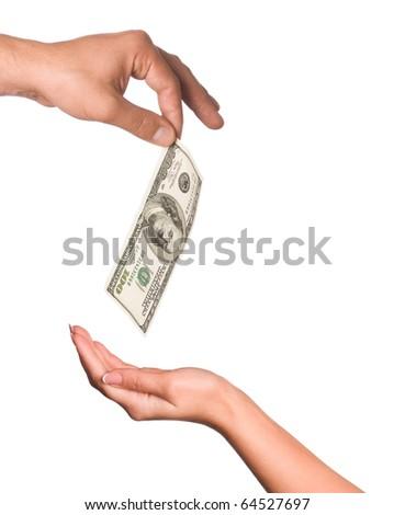 Hands holding money dollars isolated on white background - stock photo