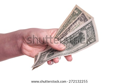 Hands holding money. Ready to pay, give and receive. isolated on White with Copy space - stock photo