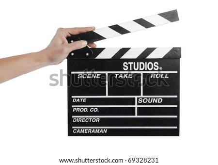 Hands holding out a clapper board
